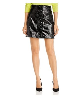7 For All Mankind Patent Leather Button-Front Mini Skirt