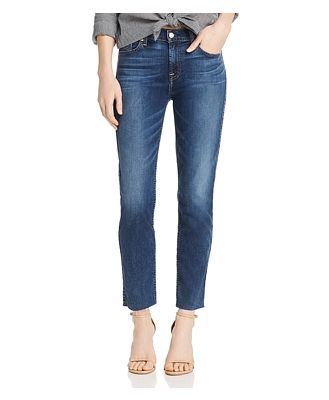 7 For All Mankind Roxanne Raw-Hem Ankle Jeans in Medium Blue