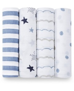 Aden and Anais Baby Boys' Rock Star Swaddles, 4 Pack