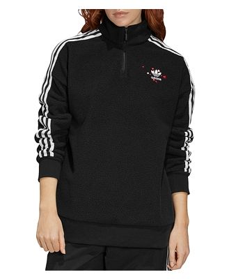 adidas Originals Hearts Quarter-Zip Fleece Sweatshirt