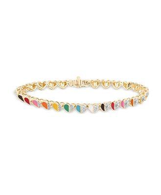 Adina Reyter 14K Yellow Gold Ceramic Folded Hearts Diamond Pave Heart Link Bracelet