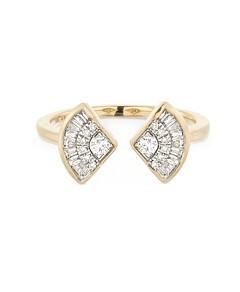 Adina Reyter 14K Yellow Gold Diamond Deco Open Ring