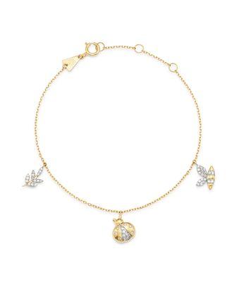 Adina Reyter 14K Yellow Gold Garden Diamond Pave Three Charm Bracelet - 100% Exclusive