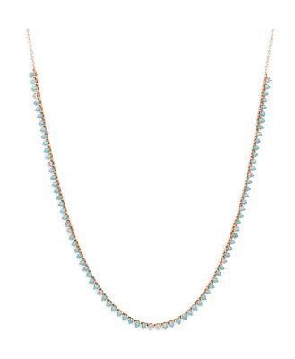 Adina Reyter 14K Yellow Gold Turquoise & Diamonds Riviera Statement Necklace, 14-16