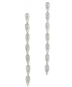 Adina Reyter Sterling Silver Pave Diamond Teardrop Link Earrings
