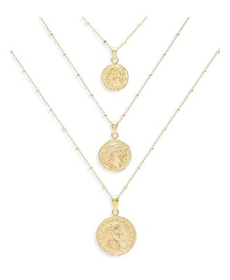 Adinas Jewels Coin Pendant Necklaces, Set of 3