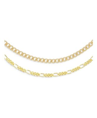 Adinas Jewels Cuban & Figaro Choker Necklaces in Gold Tone Sterling Silver, Set of 2