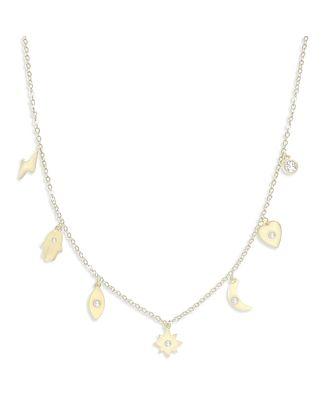 Adina's Jewels Cubic Zirconia Charm Necklace, 14-16