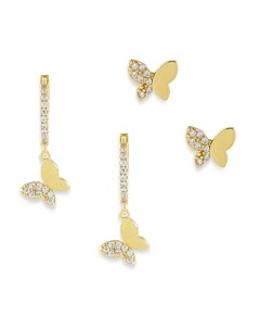Adina's Jewels Pave Butterfly Earrings, Set of 2