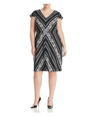 Adrianna Papell Plus Floral Chevron Shift Dress