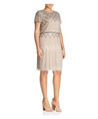 Adrianna Papell Plus Short-Sleeve Beaded Dress