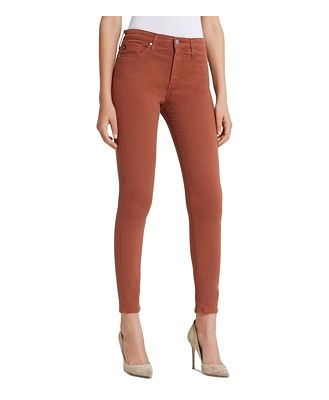 Ag Farrah Faux-Leather Ankle Skinny Jeans in Vintage Leatherette Rich Crimson