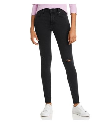 Ag High-Rise Jeans in Altered Black Destructed