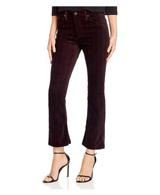 Ag Jodi Crop Flare Velvet Jeans in Delos Stripe Port Wine/Magenta Margot