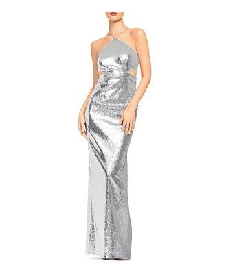 Aidan by Aidan Mattox Sequin Halter Gown