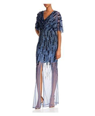 Aidan Mattox Embellished Illusion Gown