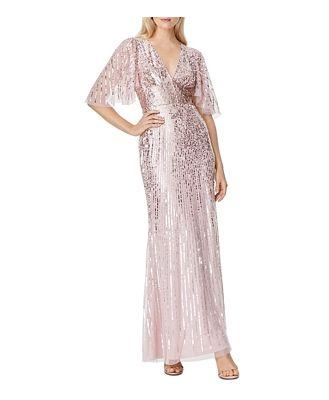 Aidan Mattox V-Neck Flutter Sleeve Sequin Gown