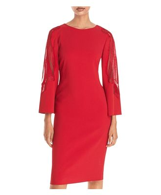 Alberta Ferretti Lace Inset Sheath Dress