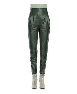 Alberta Ferretti Leather High Rise Pants