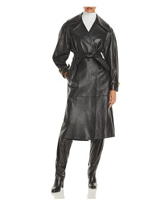 Alberta Ferretti Nappa Leather Trench Coat