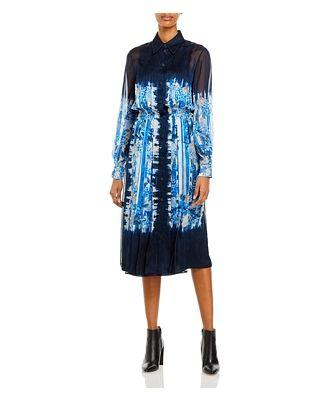 Alberta Ferretti Printed Silk Shirt Dress