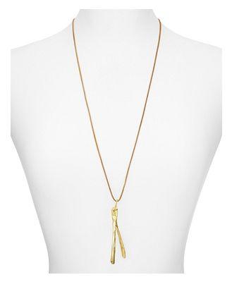 Alexandra Koumba Leather Wishbone Pendant Necklace, 30
