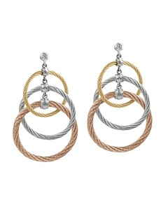 Alor Tricolor Cable Triple Drop Earrings with Diamonds