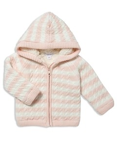 Angel Dear Girls' Striped Knit Sherpa-Lined Jacket - Baby