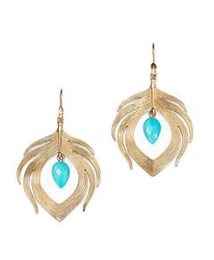 Annette Ferdinandsen Design 14K Yellow Gold Turquoise Bead Peacock Drop Earrings
