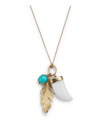 Annette Ferdinandsen Design 14K Yellow Gold White Agate & Turquoise, Feather Charm Pendant Necklace, 18