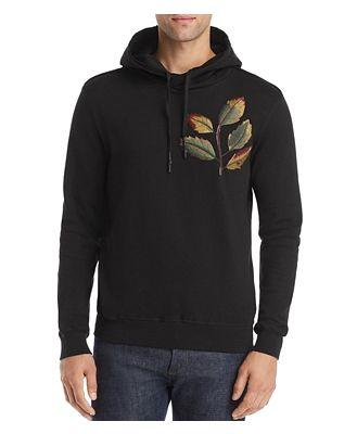 Antony Morato Leaf-Embroidered Hooded Fleece Sweatshirt