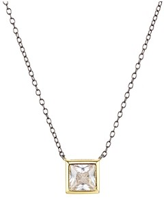 Argento Vivo Square Solitaire Pendant Necklace, 16