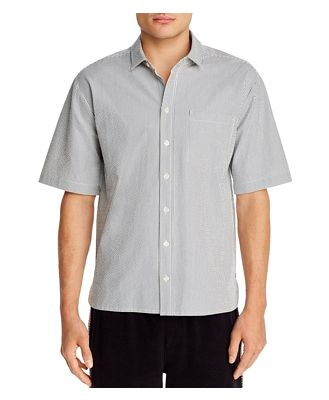 Atm Anthony Thomas Melillo Striped Regular Fit Short Sleeve Button-Down Shirt