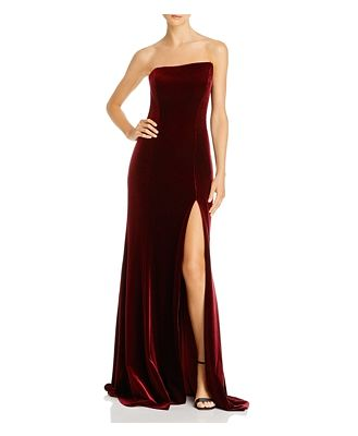 Avery G Strapless Velvet Gown