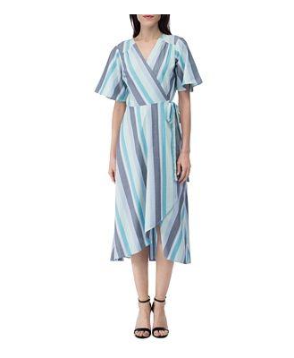 B Collection by Bobeau Orna Striped Wrap Dress