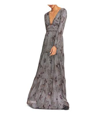 ba & sh Lili Printed Maxi Dress