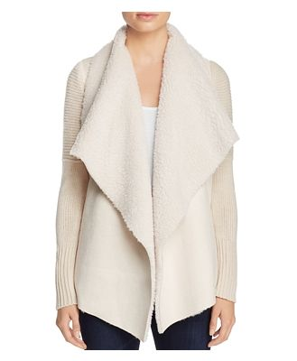 Bagatelle Draped Faux-Shearling Sweater Jacket