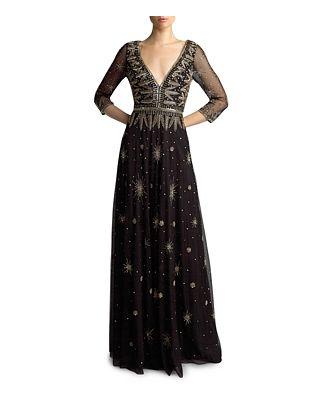 Basix Three-Quarter Sleeve Beaded Gown