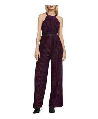 Bcbgmaxazria Metallic Pleated Jumpsuit