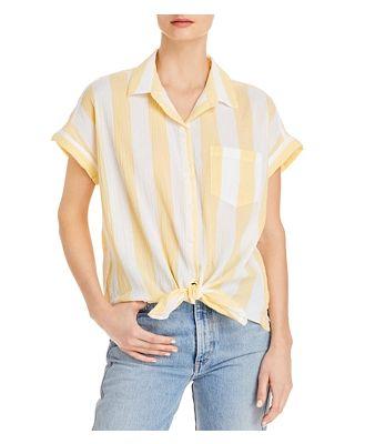 BeachLunchLounge Brooklyn Short Sleeve Tie Front Shirt