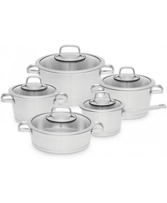 BergHOFF Essentials 10 Piece 18/10 Stainless Steel Cookware Set, Manhattan (40% off) Comparable value $585