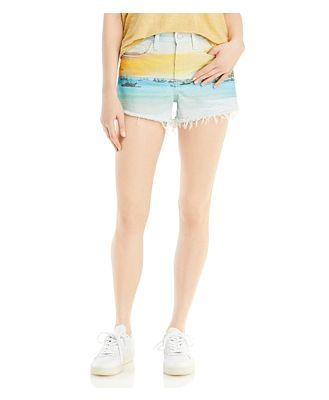 Blanknyc Graphic Print Cutoff Jean Shorts in Lost in Paradise