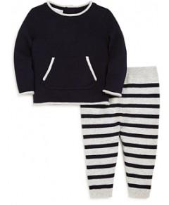 Bloomie's Boys' Crewneck Sweater & Striped Pants Set, Baby - 100% Exclusive