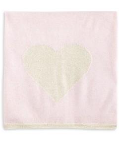 Bloomie's Girls' Glitter Heart Cashmere Baby Blanket