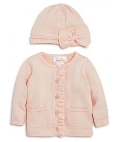 Bloomie's Girls' Ruffled Cardigan & Knit Hat Set, Baby - 100% Exclusive