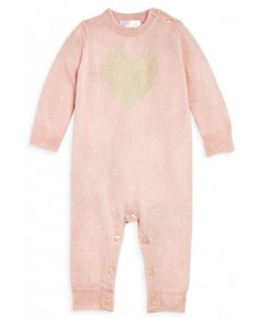 Bloomie's Girls' Sparkle Heart Cashmere Coverall, Baby - 100% Exclusive
