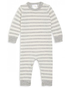 Bloomie's Unisex Striped Cashmere Playsuit - Baby