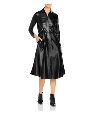 Boss Daledy Vegan Leather Shirt Dress