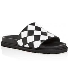 Bottega Veneta Men's Woven Leather Slide Sandals