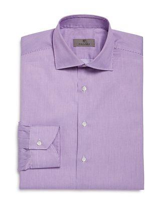 Canali Cotton Fine Line Stripe Regular Fit Dress Shirt